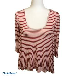 3/20 Volcom red white stripped tie back top small